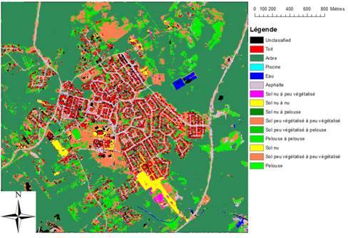 Carte représentant des données de télédétection