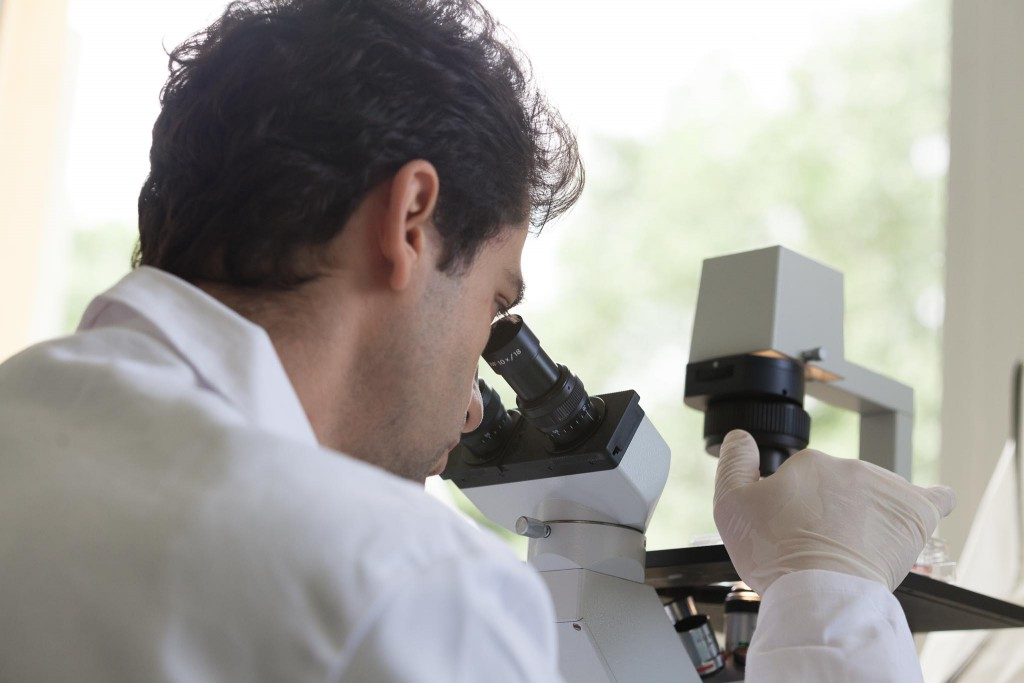 Chercheur regardant dans un microscope